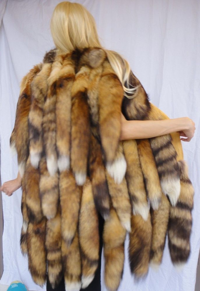 4a936a05918 Women's vintage genuine long red fox fur tails vest coat in 2019 ...