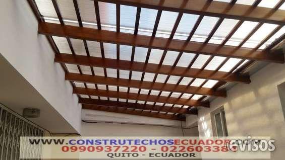 Somos fabricantes de cubiertas en hierro madera aluminio con policarbonato teja o vidrio - Techos de aluminio para patios ...