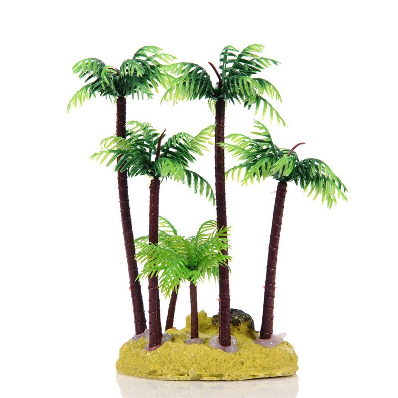 Beach Landscape With Fishermen: 1pcs Simulation Resin Coconut Tree Ornament Fish Tank