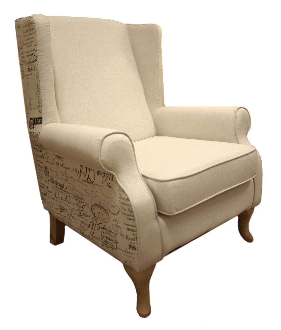 The Marseille fabric wing chair is available in Old English printed fabric, with beige back & seat cushions for a stylish French Provincial feel.   Dimensions (mm):  950x900x930    Fabric wing chair  Fabric Colours:  Old English print  Back & seat cushions: beige  Product Material:   Fabric: 60% cotton, 40% linen  Cushions: foam & fiber Solid timber frame  Webbing, Zig-zag spring system