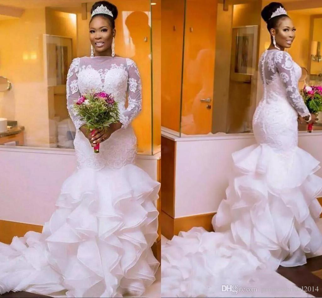 Zyllgf Long Sleeves Mermaid Wedding Dresses Bateau Neck Appliques Organza Plus Size Wedding Gowns Sheer Wedding Dress African Bridal Dress Bridal Gowns Mermaid [ 950 x 1024 Pixel ]