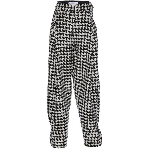 d5ed71bee013f2 Wanda Nylon Houndstooth Check Harem Pants (955 610 LBP) ❤ liked on Polyvore  featuring pants, black, harem pants, relaxed fit pants, nylon pants, harem  ...