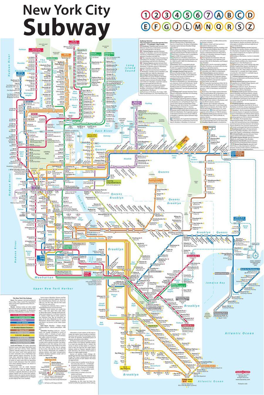 New York City Subway Map Karte Von New York New York City New York