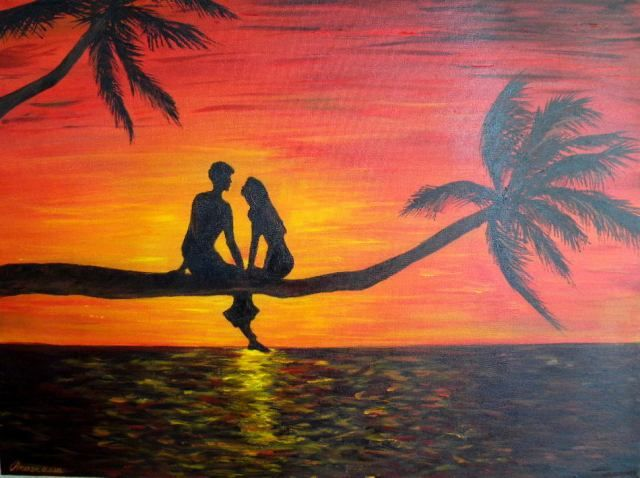 Colorful Acrylic Painting Couples
