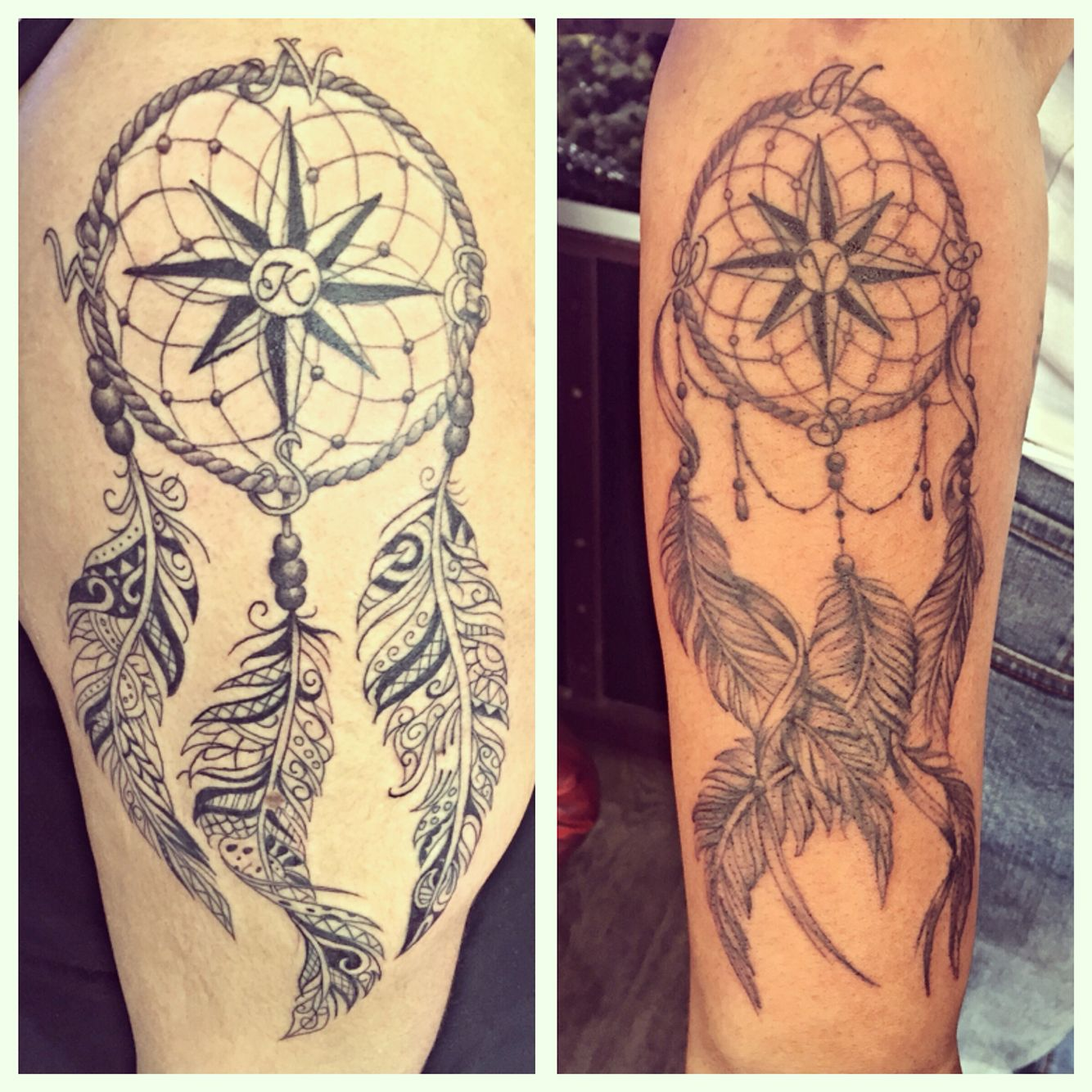 It S Been A Feathery Kind Of Day Matching Dreamcatcher Tattoos 1 Top Arm The Other On Forearm Tattoo Tattoos Tattoos Arm Tattoo Feather Tattoos