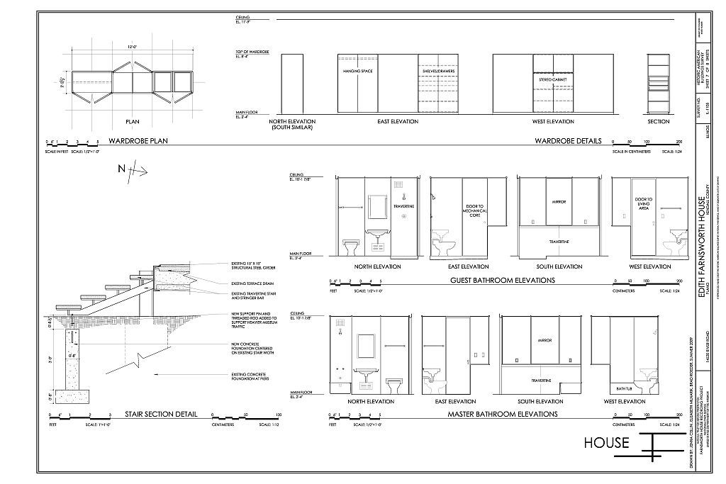 Farnsworth house plan measurements google search rhino for Farnsworth house floor plan