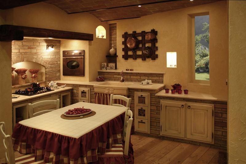 Grifo caminetti le nostre cucine in mattoni pietre for Case rustiche interni