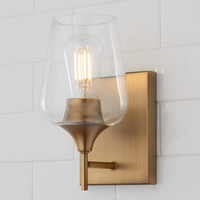 Ashley Bath Sconce In 2020 Sconces Contemporary Wall Sconces Powder Room Design