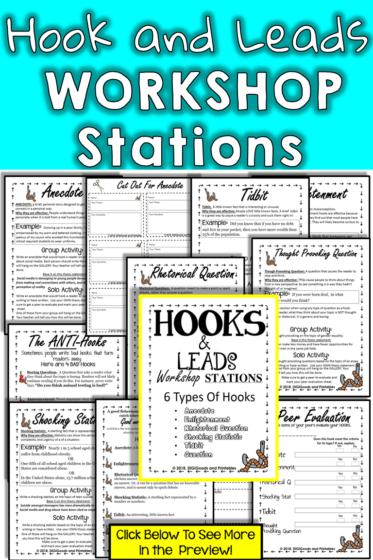 Hooks And Leads Printable Workshop Stations Centers And Gallery Walk For Essay Writing Each Station Kit I Workshop Stations Essay Writing Expository Writing [ 1152 x 768 Pixel ]