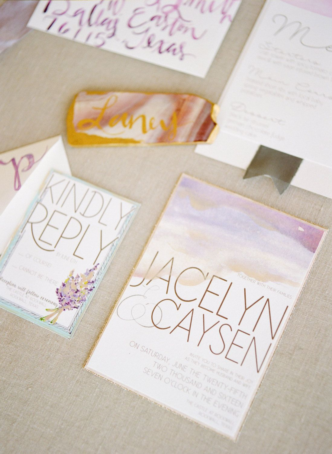 Lavender Wedding Invitations. Watercolor by JordanAlvarezDesigns