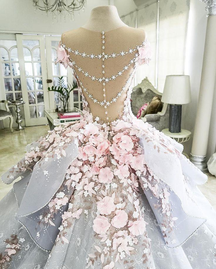 Herrliches rosa Rose eingelegtes Blumen Hochzeits Kleid ...