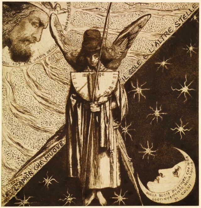 Dante Gabriel Rossetti, 'Dantis Amor', design for the Red House painting. This finished version shows the sundial pointing to the 9th hour.