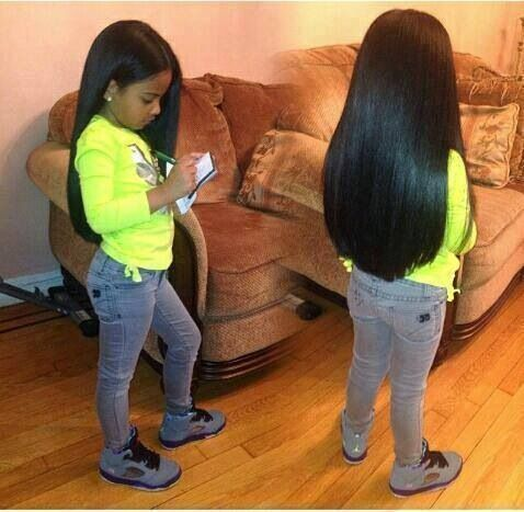 Little Girl With Long Straight Hair Natural Hair Styles Little Girl Hairstyles Black Baby Hairstyles