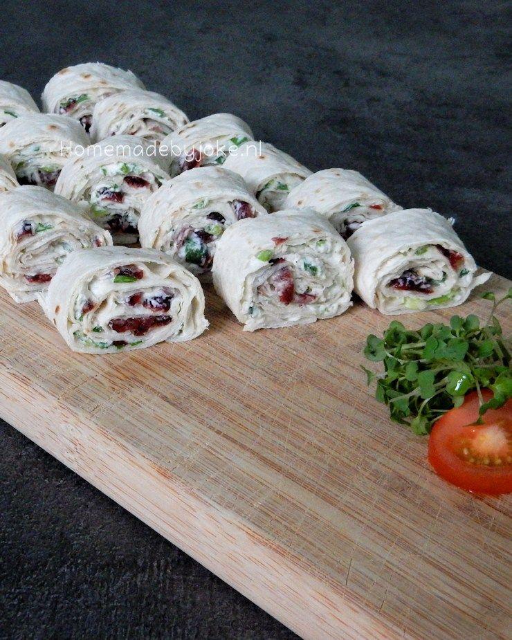 Wrap hapjes met cranberry en roomkaas - Homemade by Joke #wrapshapjes