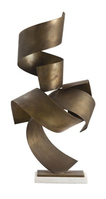 This modern sculpture piece sows a great variety of movement. The curvature of the artwork draws the eye to different areas. The figure ground relationship is very unique because the sculpture is standing on a corner of the spiral which gives an interesting formation.