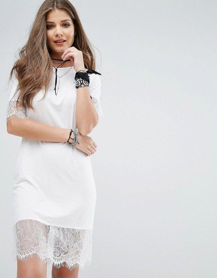 ebf2faab46 boohoo Lace Trim T-Shirt Dress | Products | Pinterest | Dresses ...