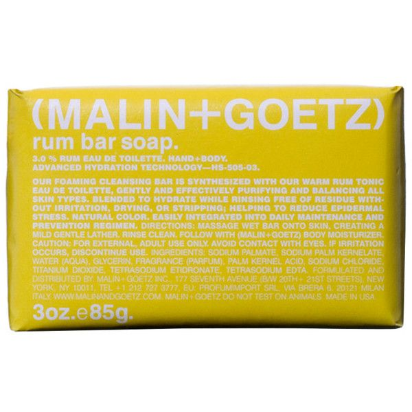 Malin & Goetz Rum Bar Soap ($11) ❤ liked on Polyvore featuring beauty products, bath & body products, body cleansers and andrew goetz & matthew malin