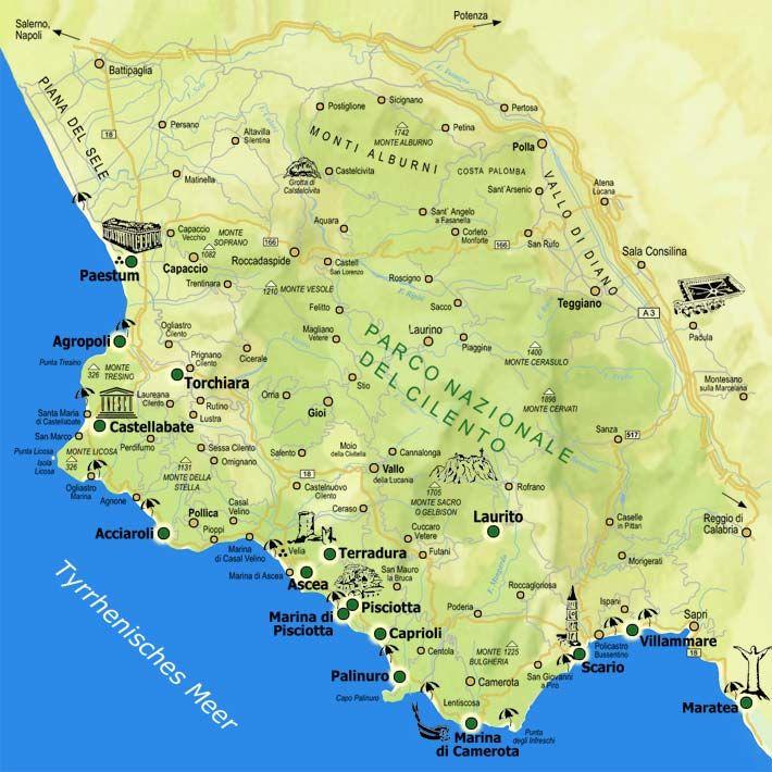 Cilento Cartina Geografica.16 Idee Su Beaches Italy Mappa Spiagge Viaggi