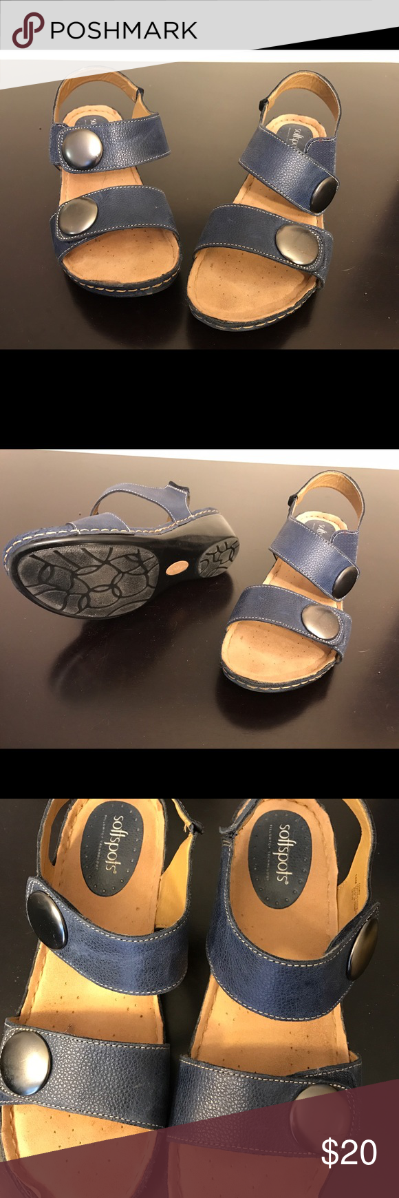 Soft spots, size 10, navy Velcro sandals Soft spots, size 10, navy blue sandal with Velcro snaps and silver accents. Only worn a few times.  She was in pristine condition. softspots Shoes Sandals