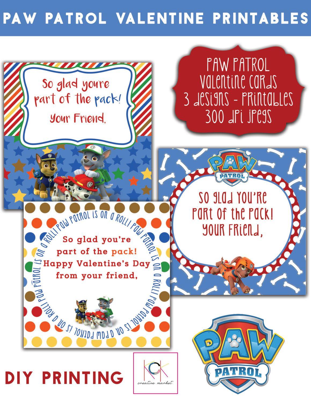 Paw Patrol Printable Valentine Cards Or Tags 3 Designs
