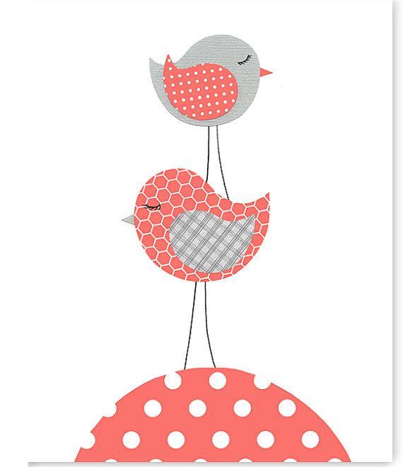 Bird Nursery Art, Coral and Grey, Girl's Nursery Decor, Baby Shower Gift, Baby Girl, Birds Stacked, Bird Canvas Art, Modern Baby, Toddler