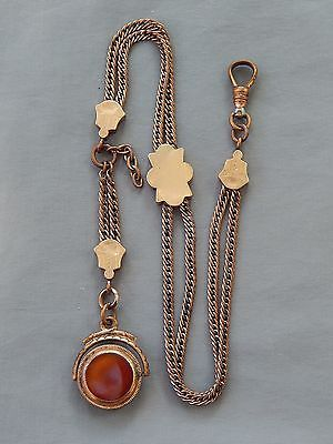 Antique-Victorian-Gold-Filled-Pocket-Watch-Slide-Chain-Carved-Double-Sided-Fob