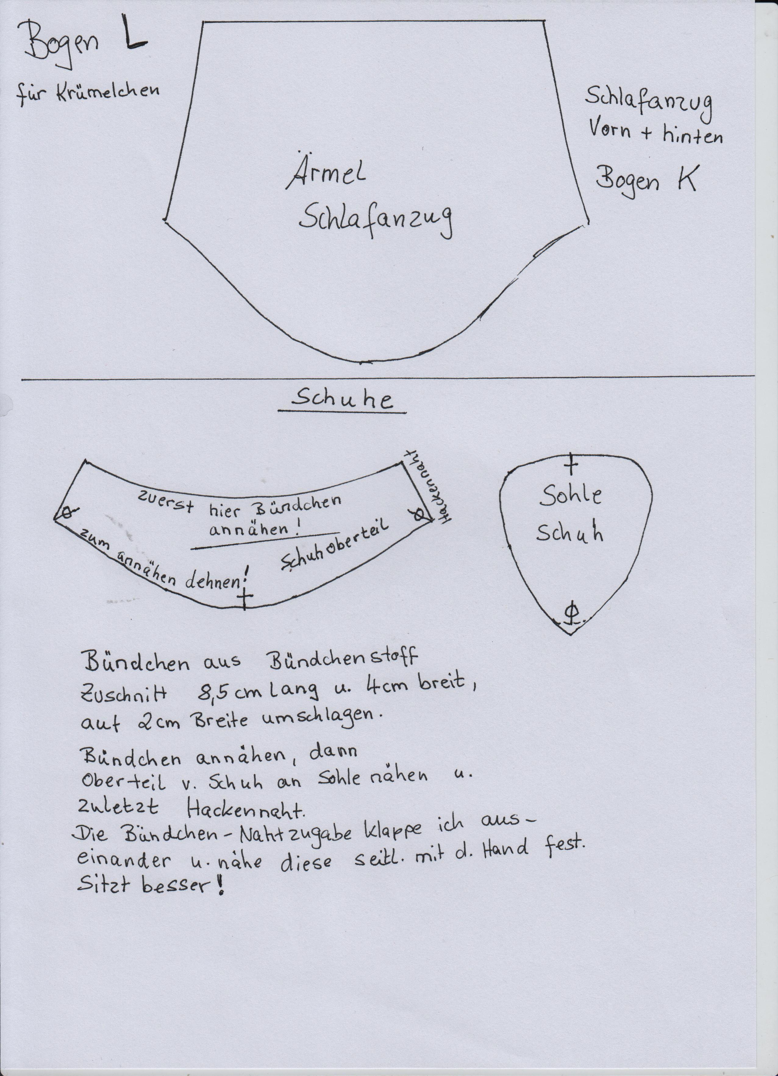 Schnittmuster Schlafanzug Teil 2 von 2 und Schuhe | Puppenkleidung ...