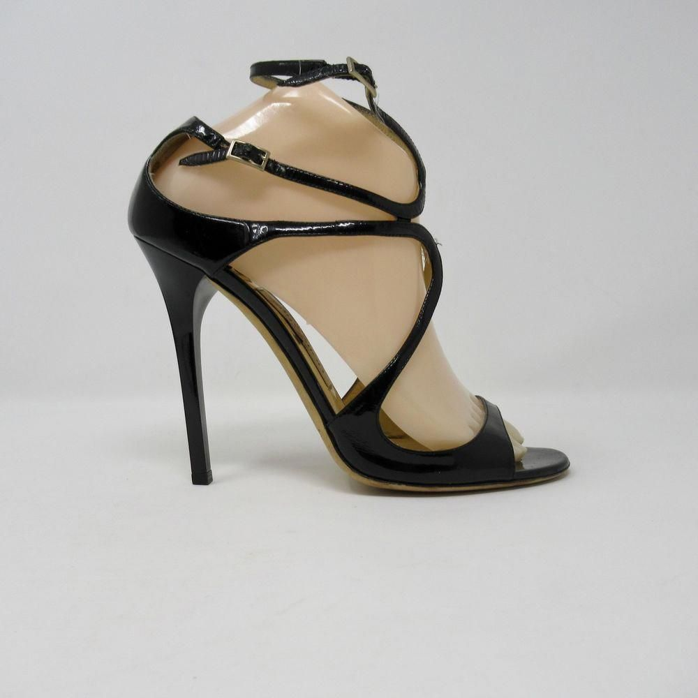b6b6b7fb521 Jimmy Choo Pumps Heels Lance Black Patent Leather Strappy Size 39  JimmyChoo