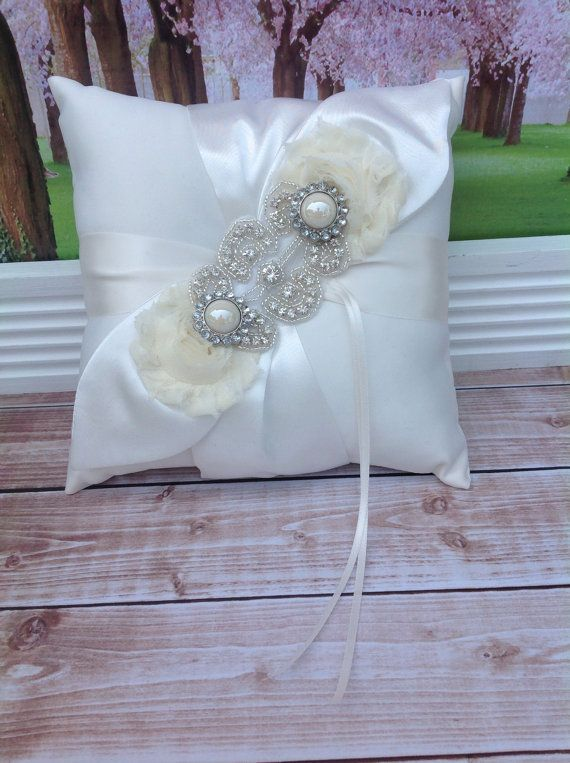 RING BEARER PILLOW /rhinestone beaded ring bearer pillow , rustic wedding , barn yard ,wedding pillow , wedding pillow