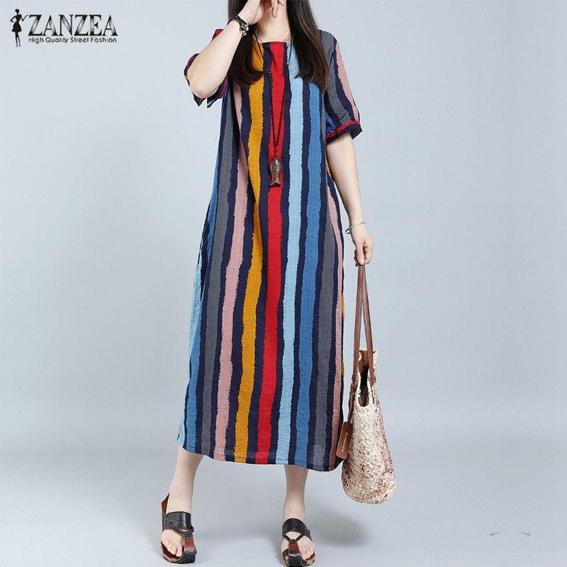 b04bd9adc26 Summer Fashion Women Maxi Long Dress ZANZEA Boho Casual Striped ...