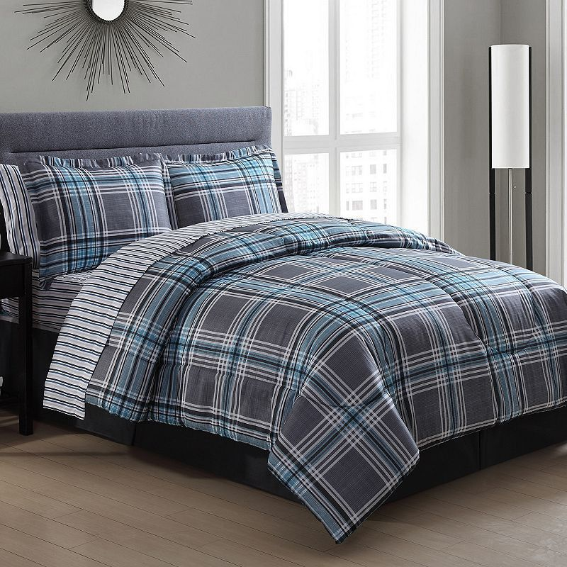 ideas lodge modern comforter choose to blue plaid ecrins set