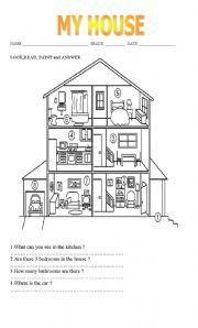 Parts of the house. In this worksheet students must look