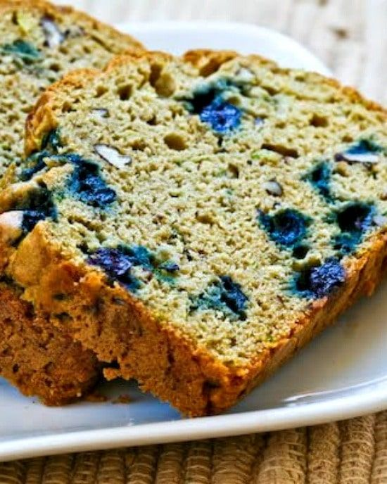lowsugar and whole wheat zucchini bread with blueberries