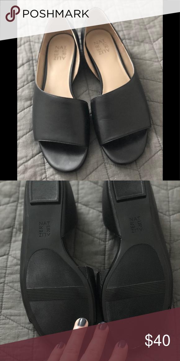 Black Naturalizer Peep-toe Flats   Peep