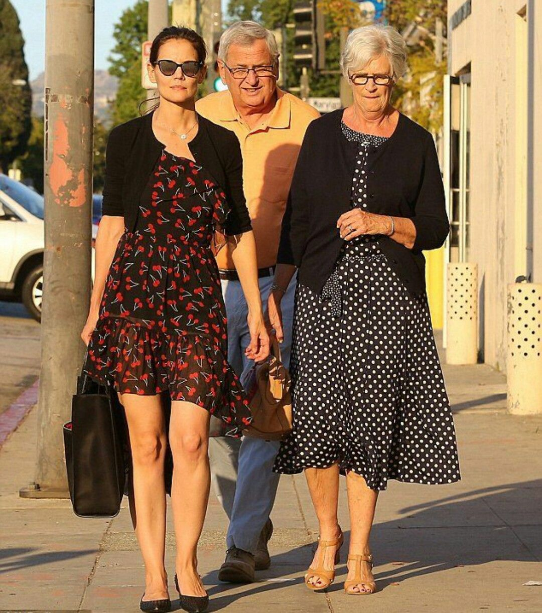 Katie Holmes with Mom and Dad