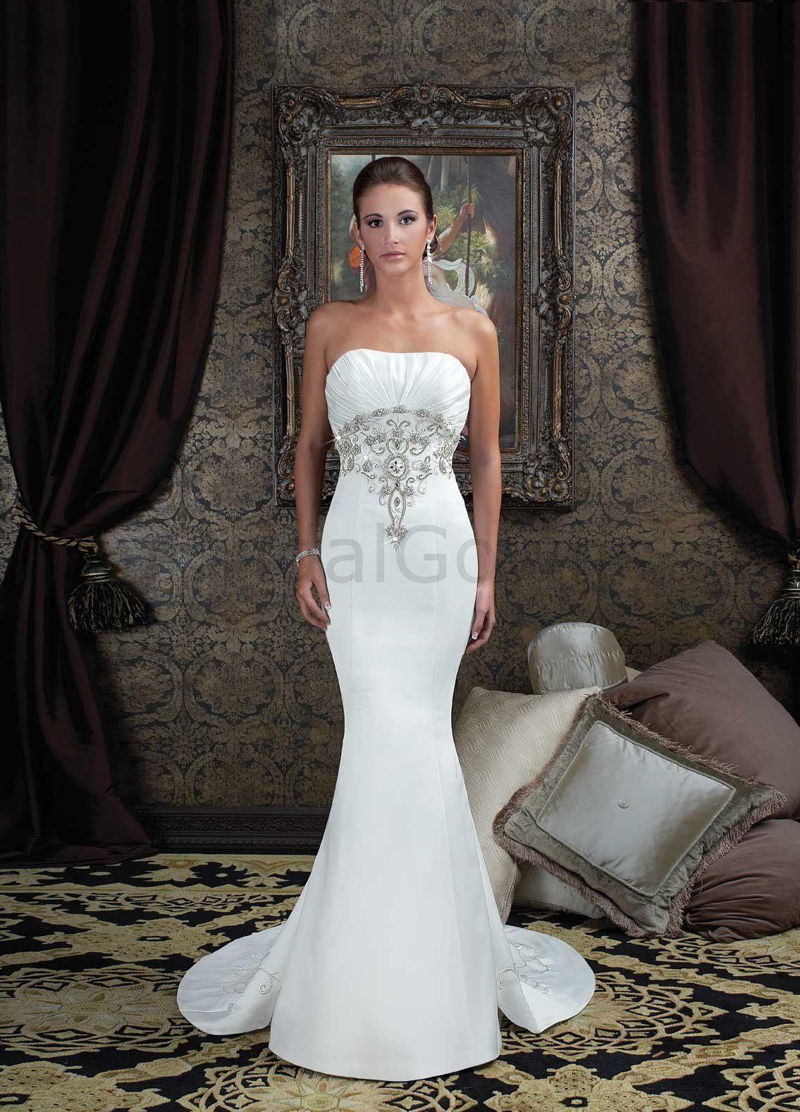 Satin wedding gowns ruffled bodice mermaid wedding dress