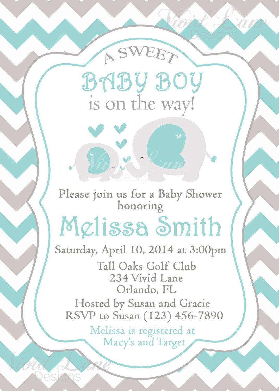 Elephants Baby Shower Invitation Printable Boy By Vividlanedesigns 13 00