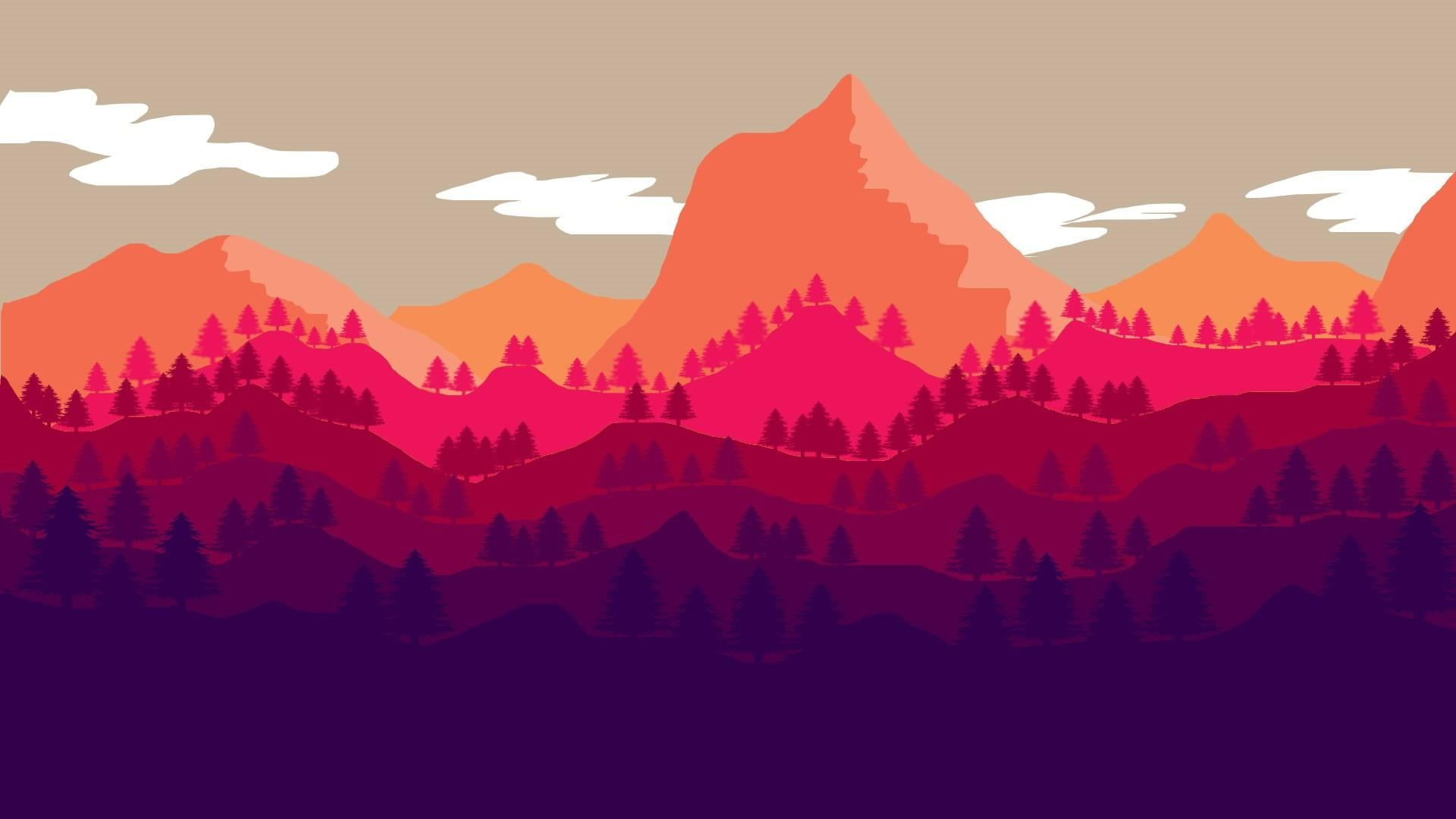 Tree Sky Cool Red Flat Design Material Design Graphics Illustration Graphic Design Design Art Artwor Graphic Wallpaper Art Wallpaper Android Wallpaper