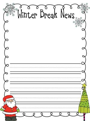 christmas break writing activity for preschool