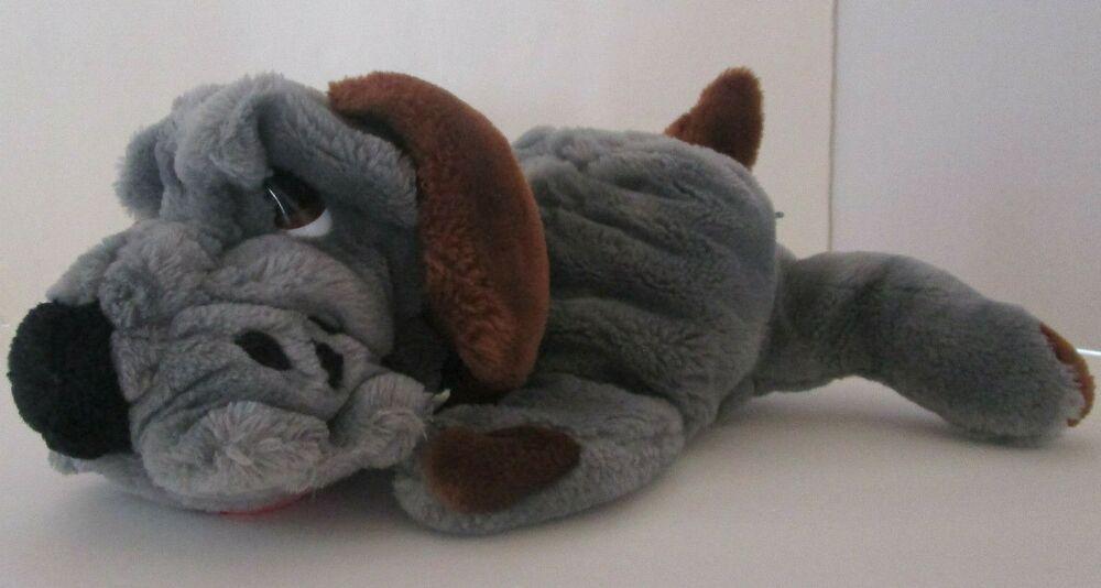 80s vtg gray dog puppet hand soft toy plush pick of the