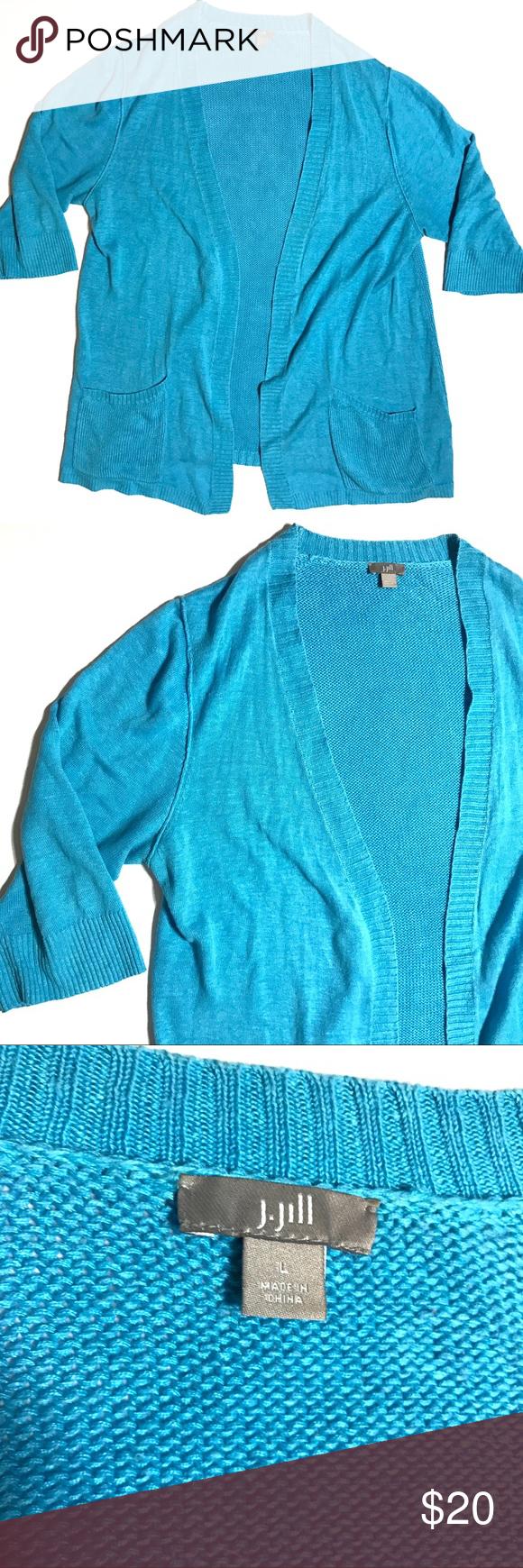 J Jill Blue Open Front Linen Cardigan Sweater L J Jill Light Blue ...