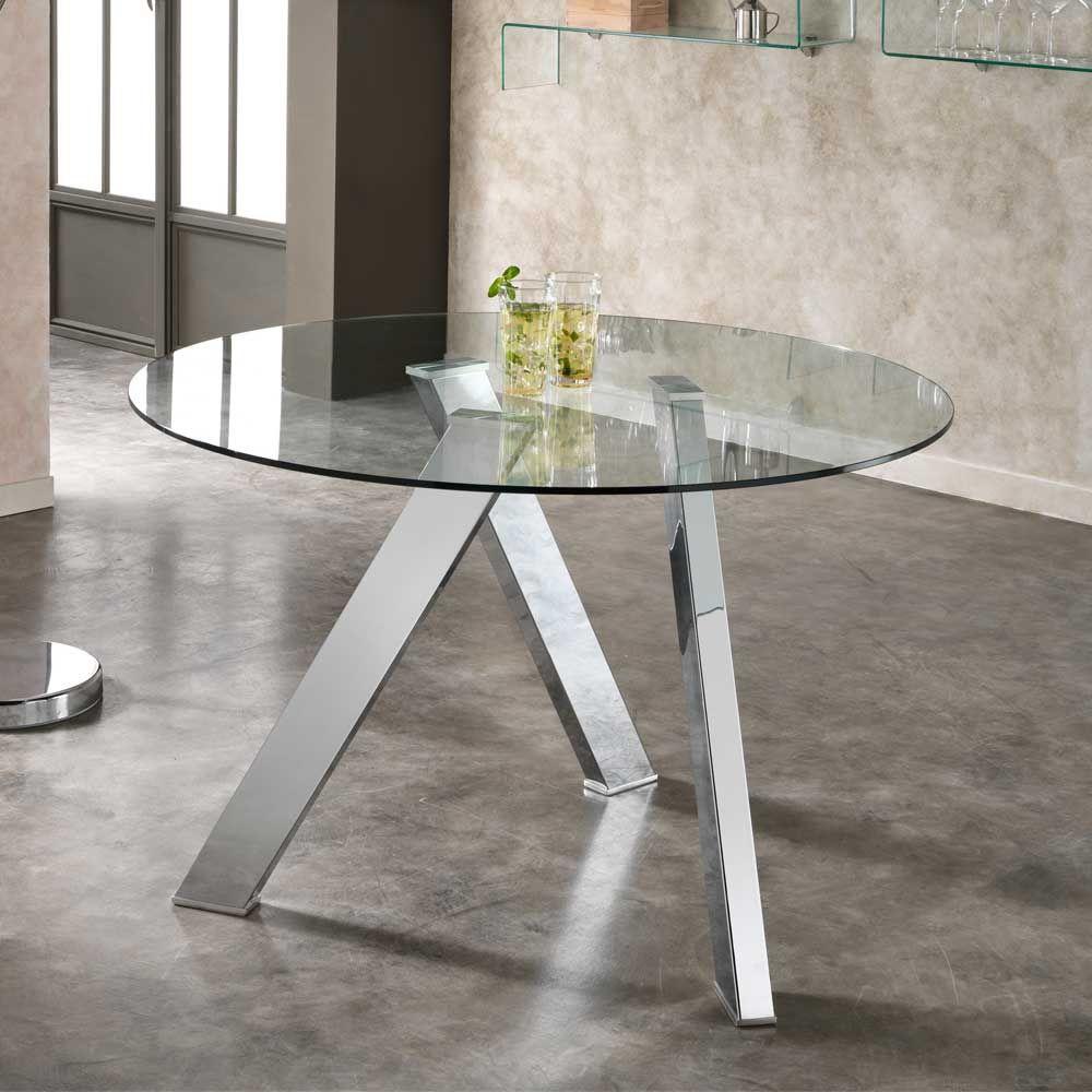 Runder Esstisch mit Glasplatte 120 cm breit Jetzt bestellen unter ...