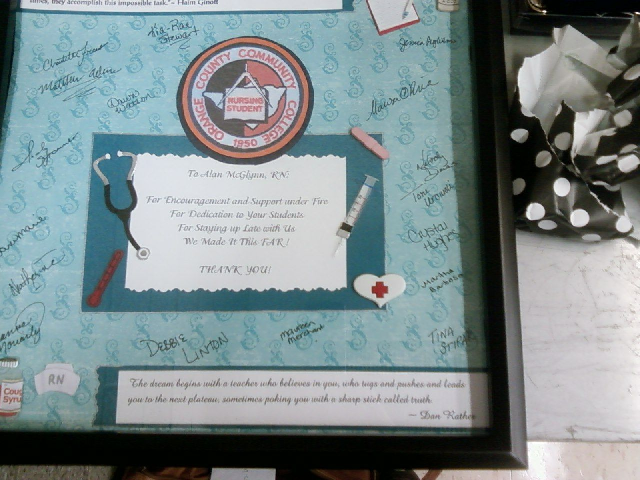 Thank You Scrapbook Page for Nursing Lead Instructor, Wood Frame