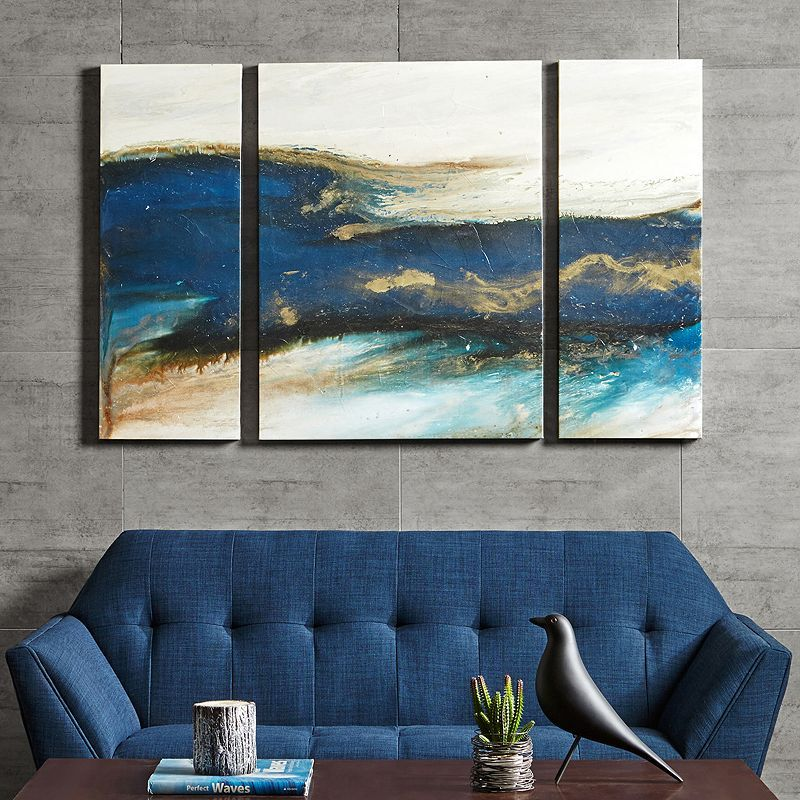 Ink Ivy Rolling Waves Triptych Canvas Wall Art 3 Piece Set