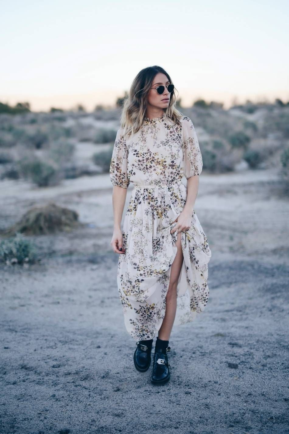 d698aa7cc565 Style and beauty blogger Jill Lansky of The August Diaries in Aritzia silk  boho dress