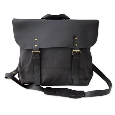Upcycled cotton and leather accent satchel, 'Environmentalist' - Black Upcycled Cotton Leather Accent Satchel Shoulder Bag