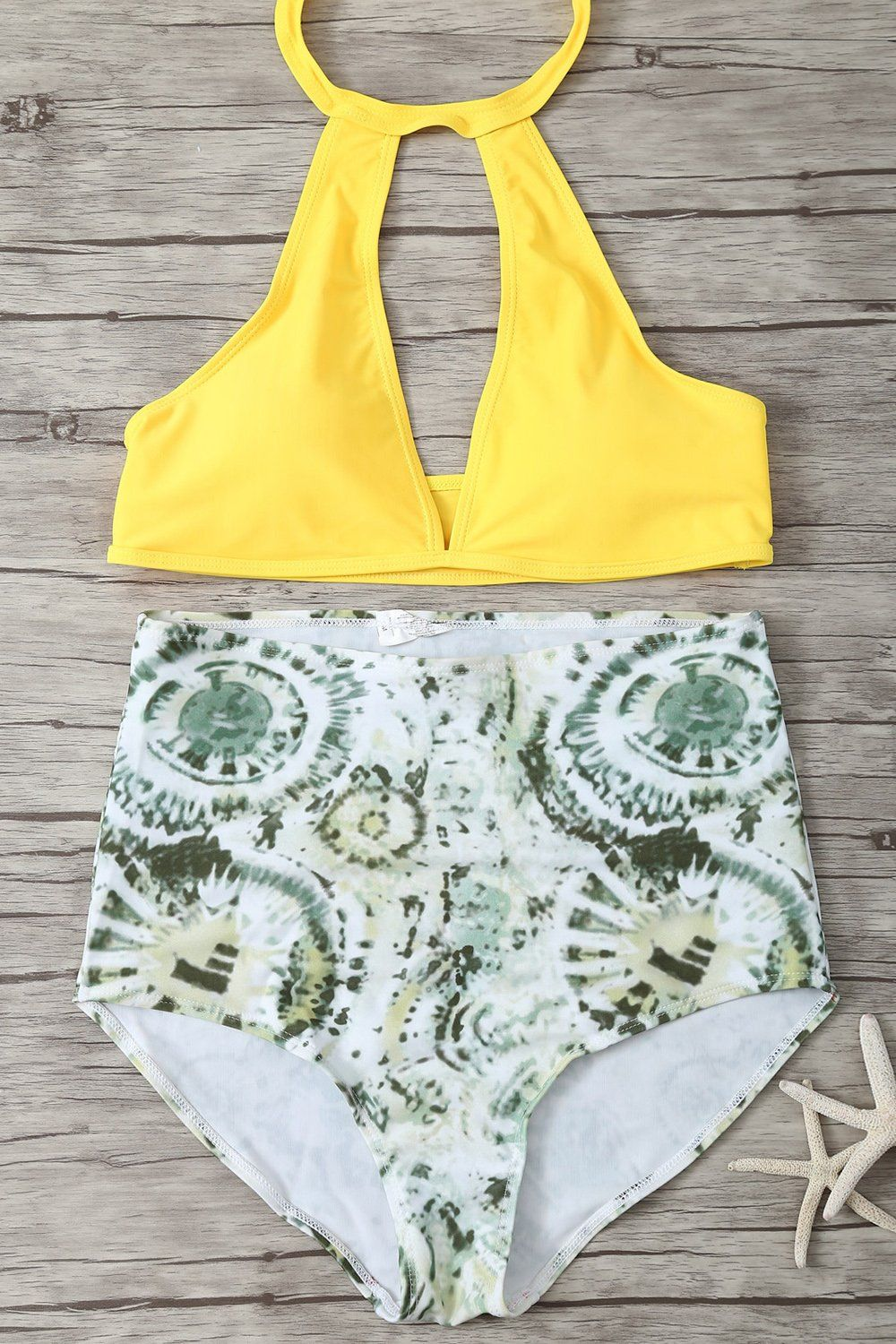 8cfeb1704a3bf Yellow Halter Print Keyhole High Waisted Sexy Bikini Swimsuit yellow / M
