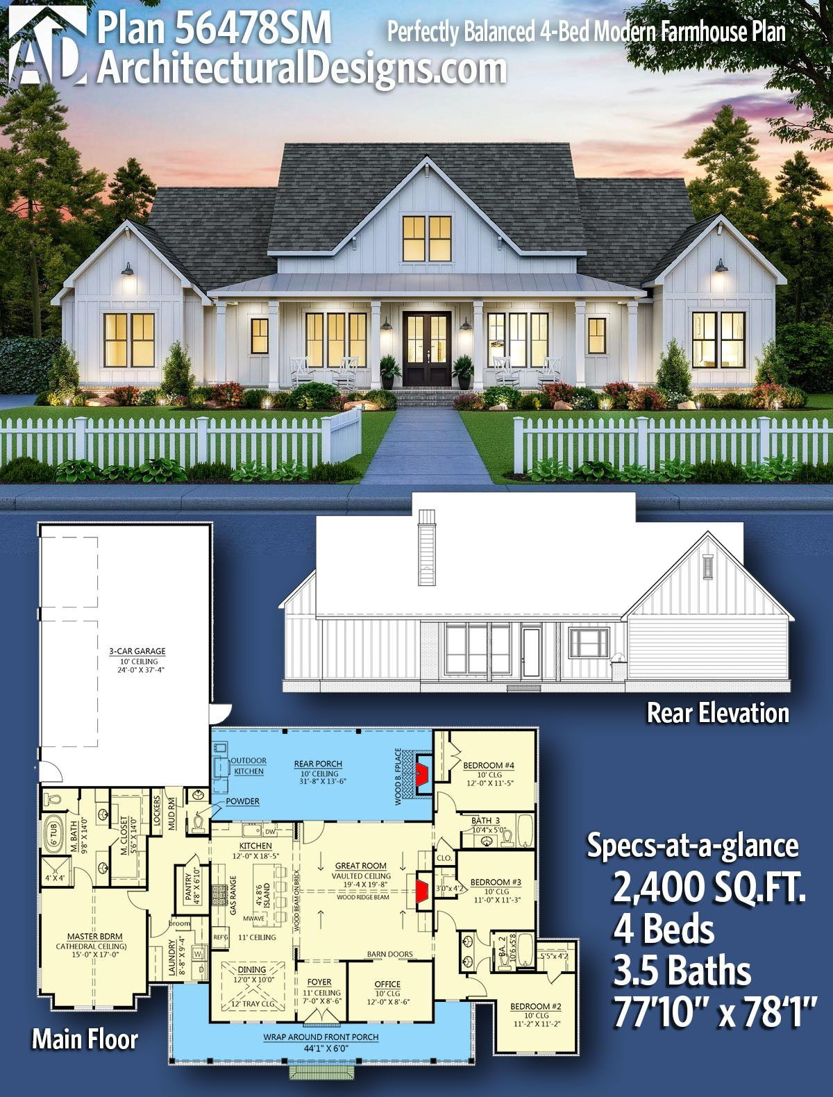 Plan 56478sm Perfectly Balanced 4 Bed Modern Farmhouse Plan Modern Farmhouse Plans Farmhouse Floor Plans House Plans Farmhouse