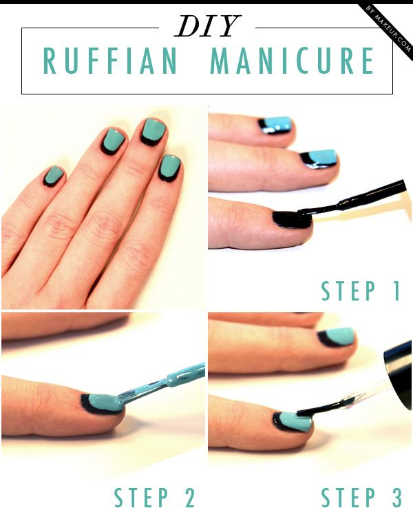 We're always looking for amazingly fun and easy DIY manicures and always have our eyes on what is trending, but we also know that some nail art designs never go out of style. The Ruffian Manicure is one of them! All you need is 2 nail polish colors of your choice and top coat.