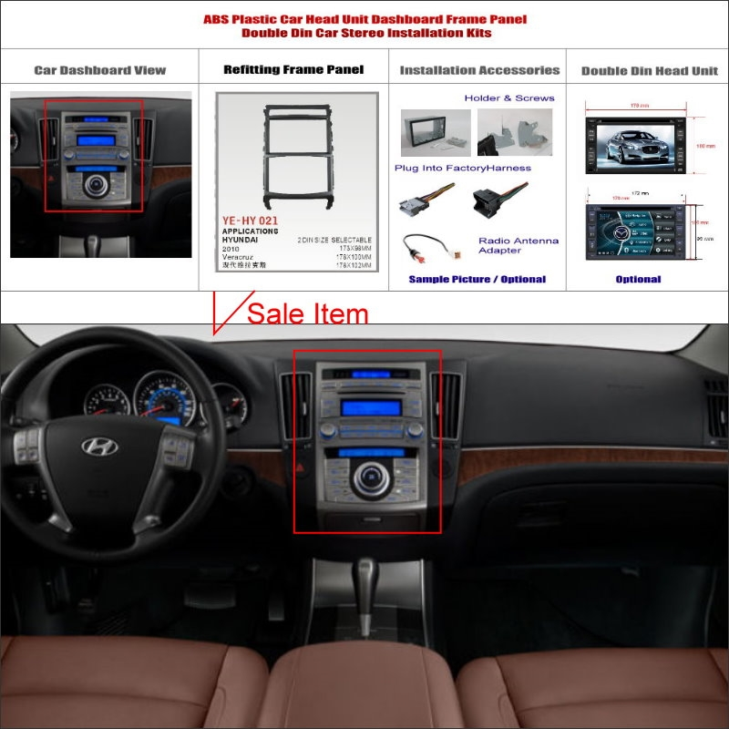 75.00$  Buy here - http://alizmi.worldwells.pw/go.php?t=32663856219 - 2 DIN ABS Frame Panel Fascia For Hyundai Veracruz 2006~2015 Aftermarket Car Stereo Radio DVD Player GPS Navi Installation 75.00$